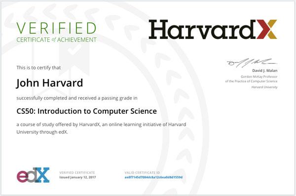 certificado curso online harvard