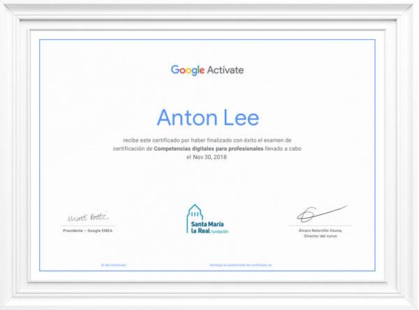 ejemplo certificado de google