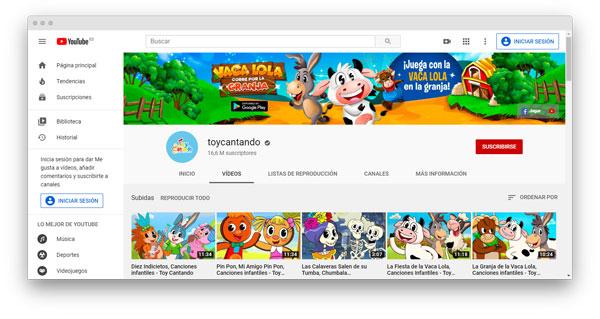 youtube toy cantando